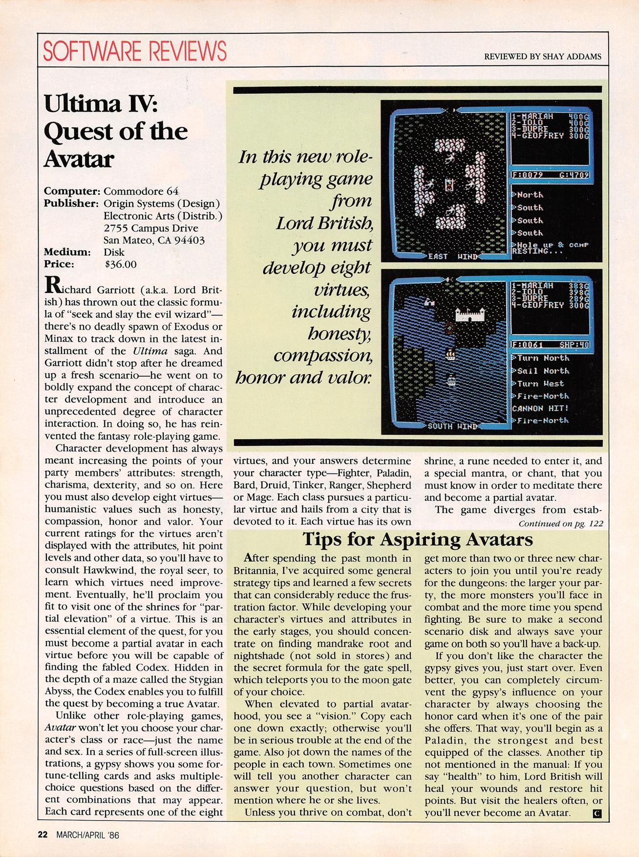 SOFTWARE REVIEWS REWEWEDBYSHAYADDAMS Ultima IV Quest of the Avatar puter modore 64 Publisher