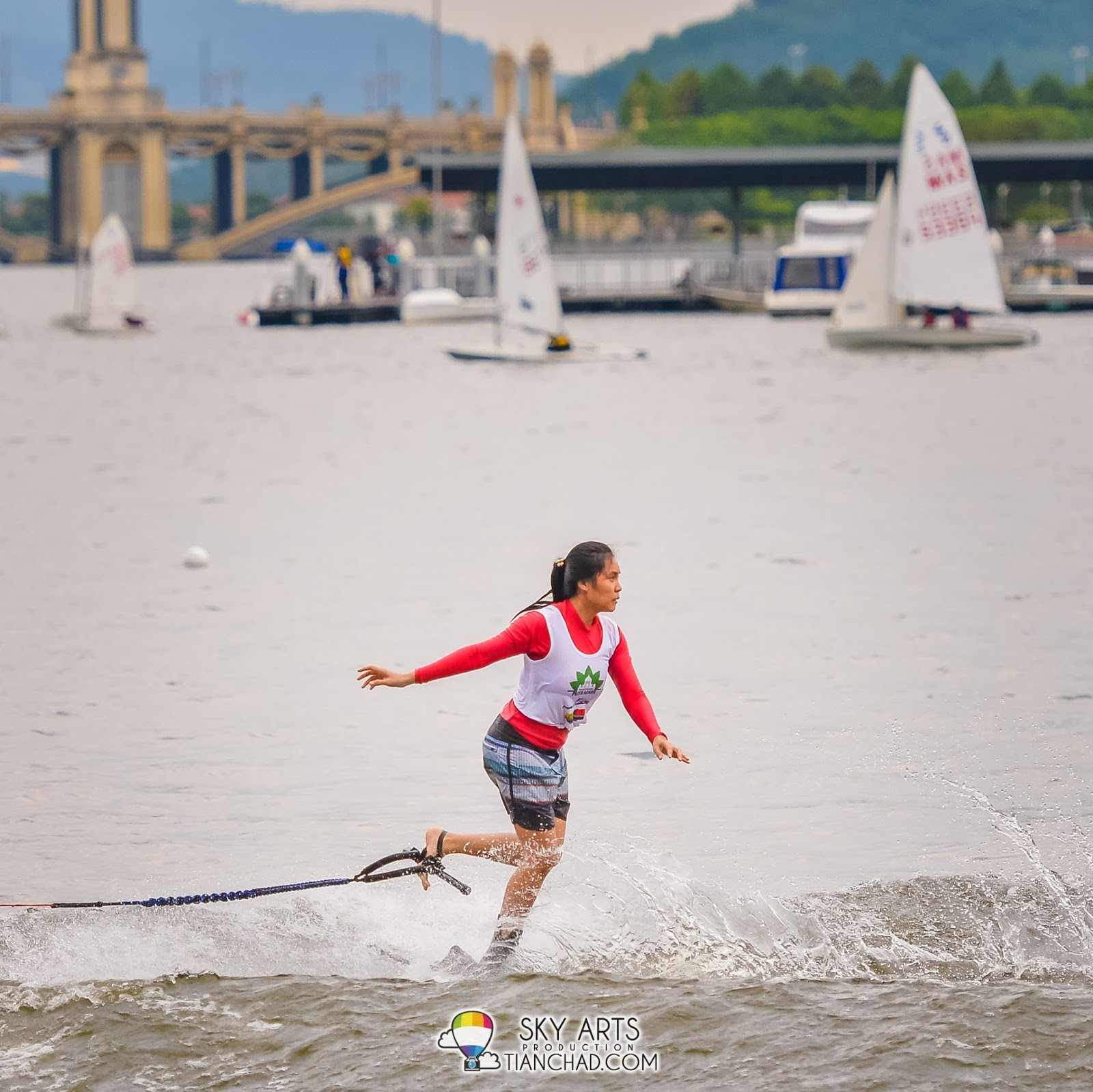 Putrajaya Waterski and Wakeboard Championship contestant doing their best to impress the judges