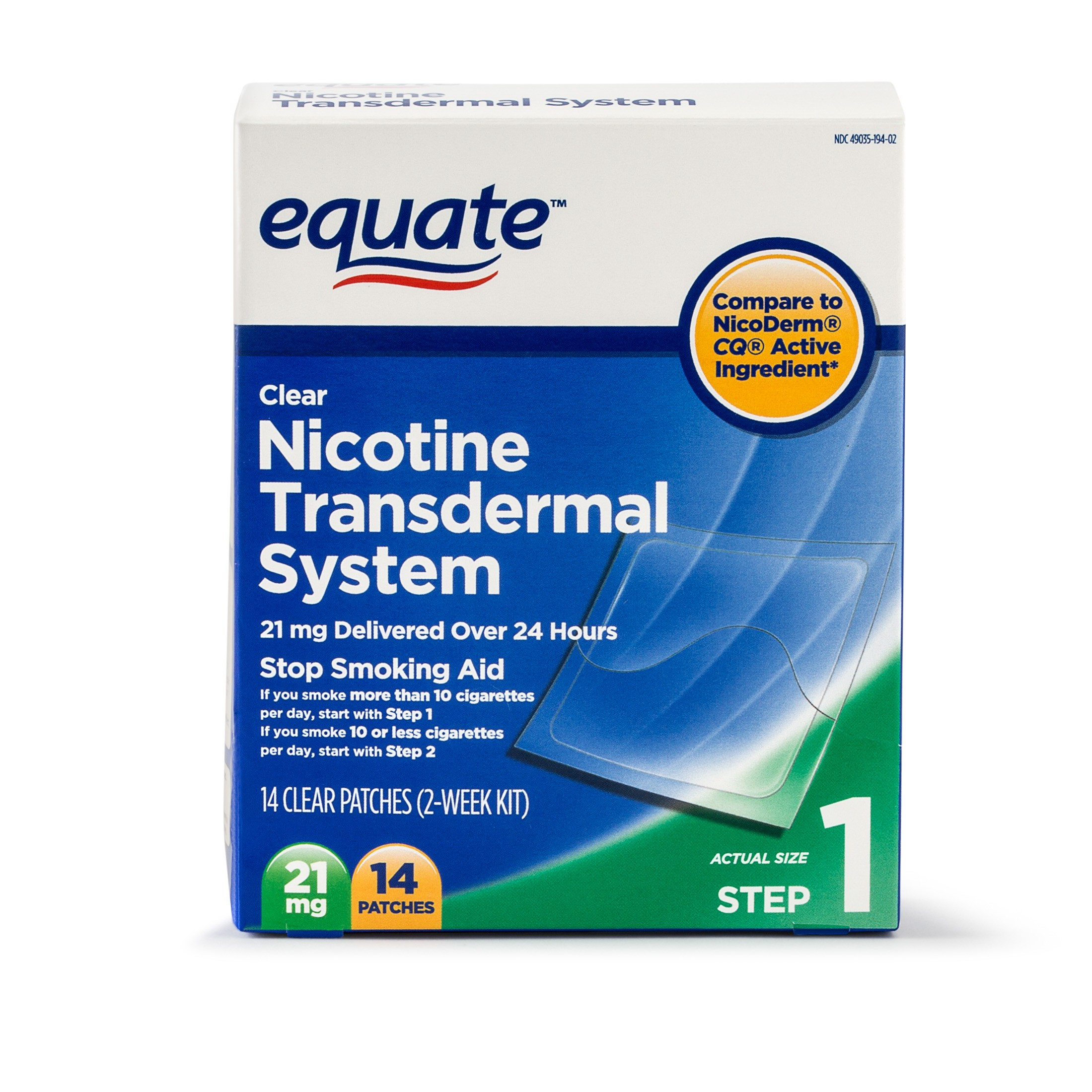Equate Nicotine Transdermal System Step 1 Clear Patches 21 mg 14 Ct Walmart