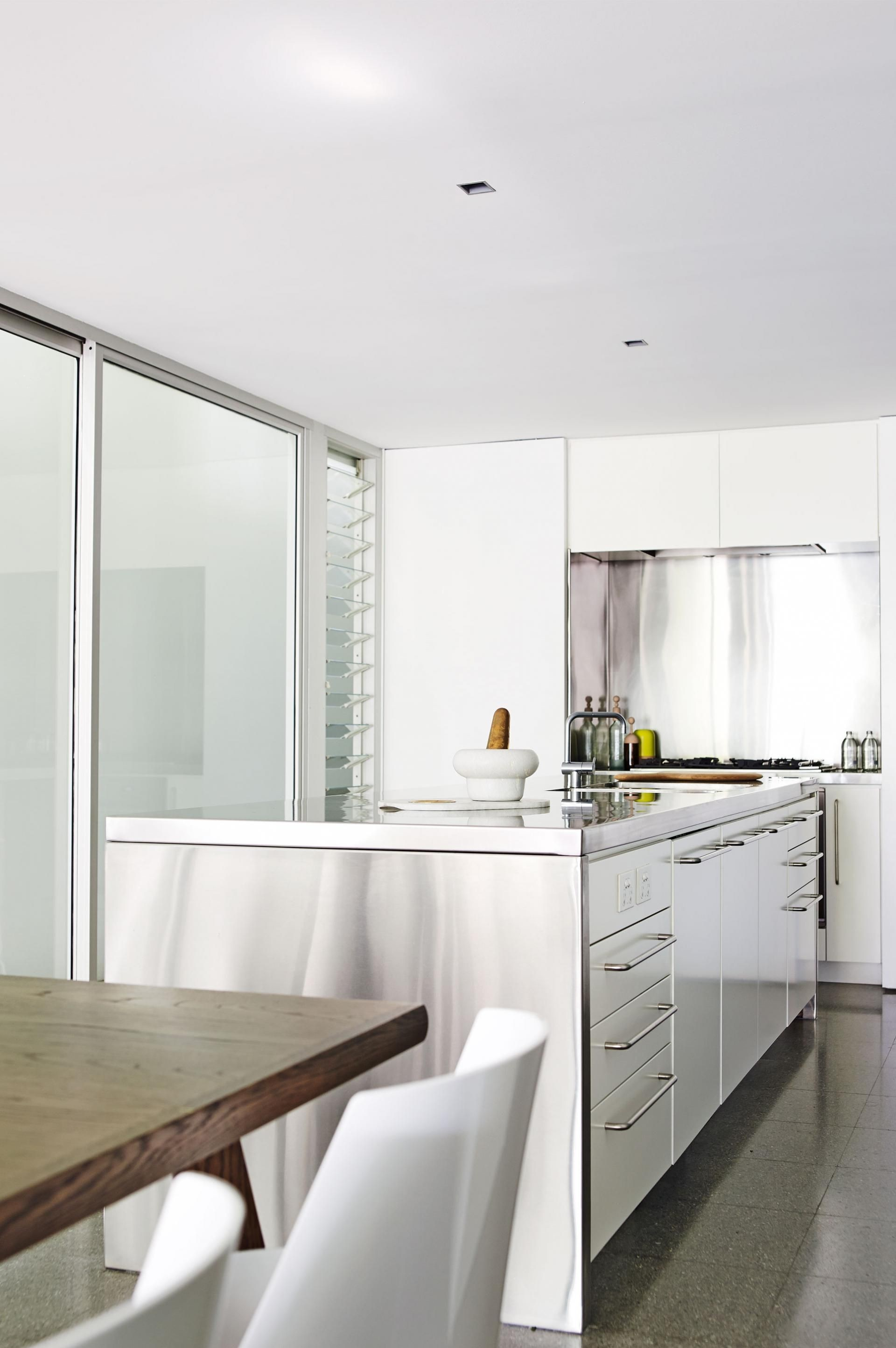 Lack of clutter on the kitchen bench Stainless steel and