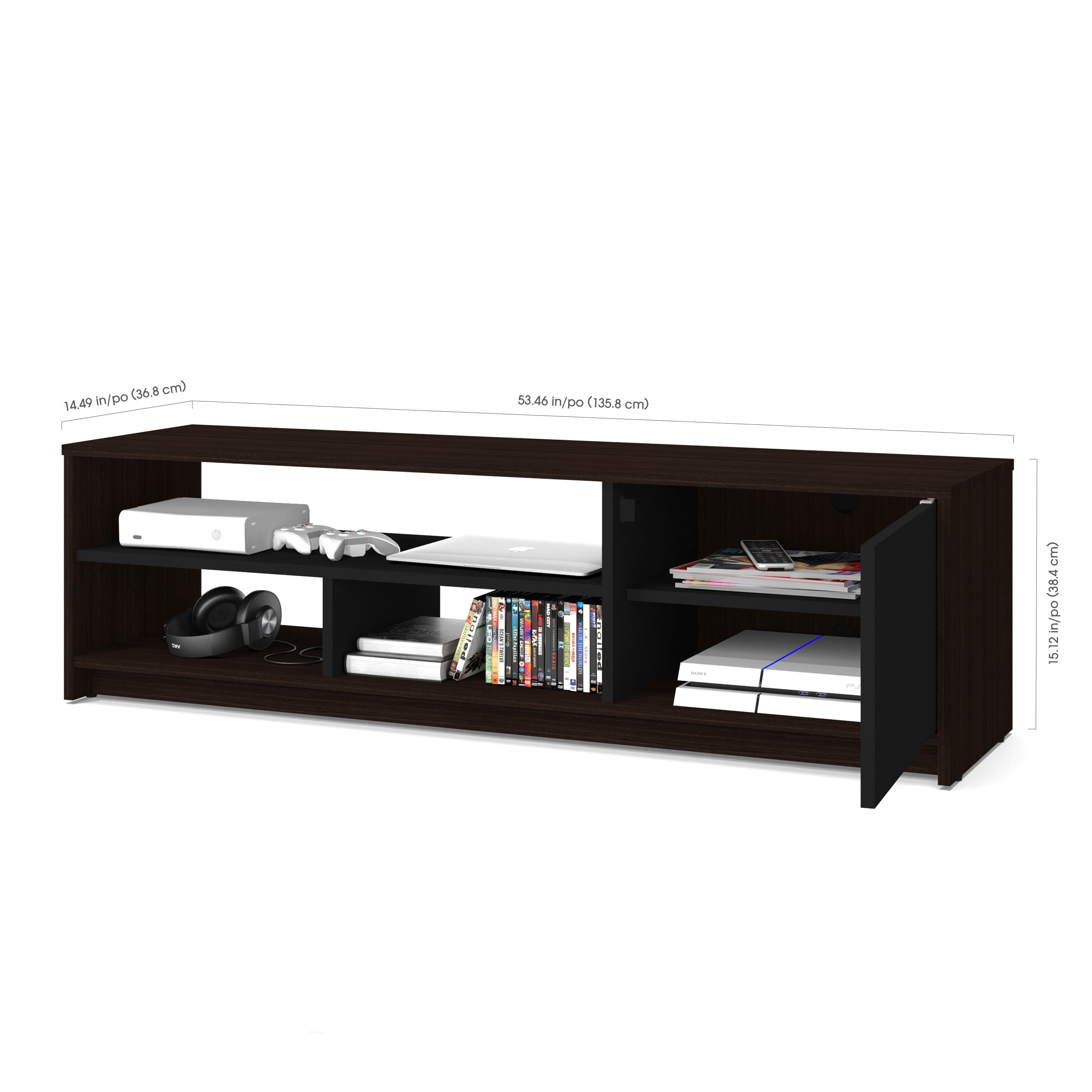 Bestar Small Space 3 Piece Tv Stand and 2 Storage towers Set Free Meja