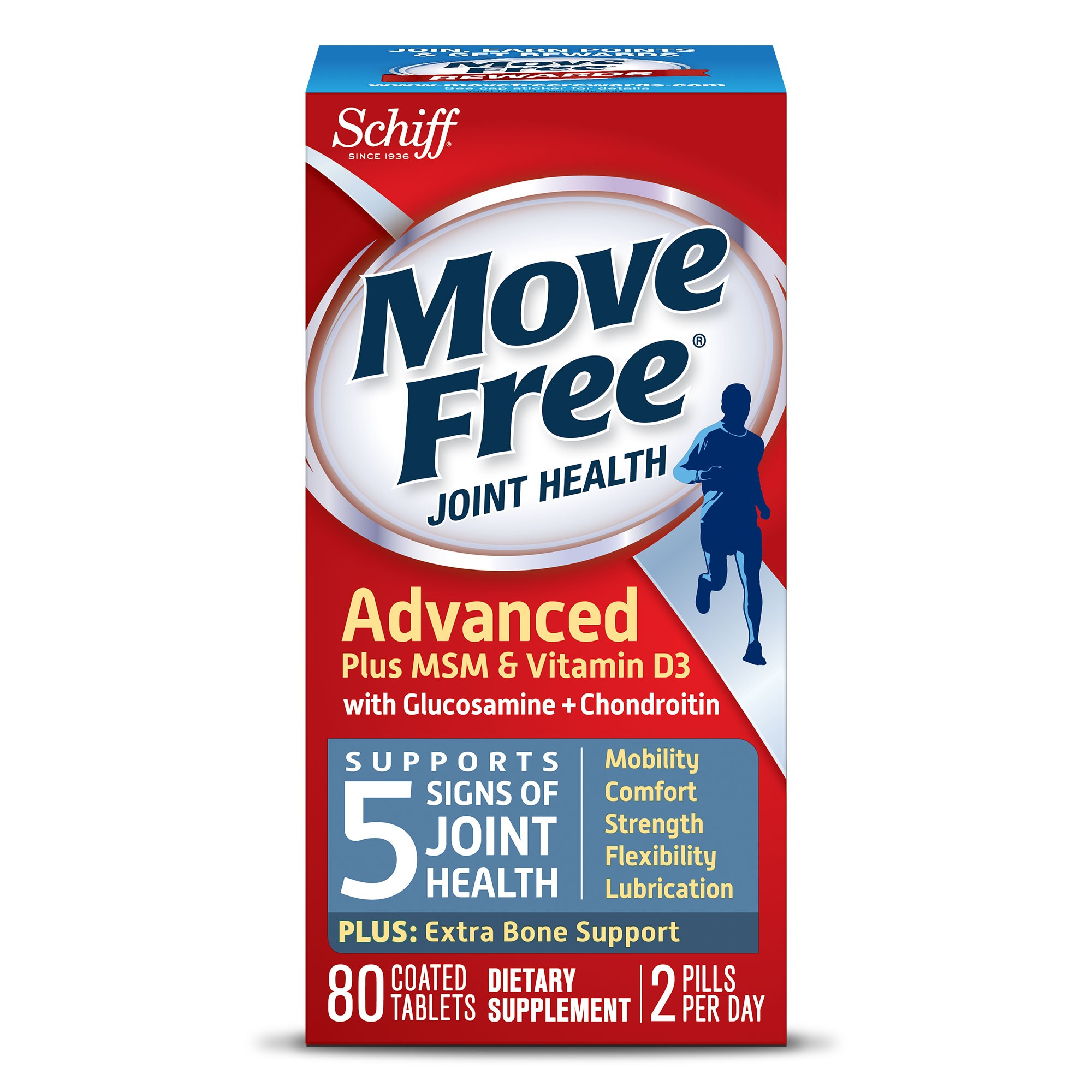 Move Free Advanced Plus MSM and Vitamin D3 80 count Joint Health Supplement with Glucosamine and Chondroitin Walmart