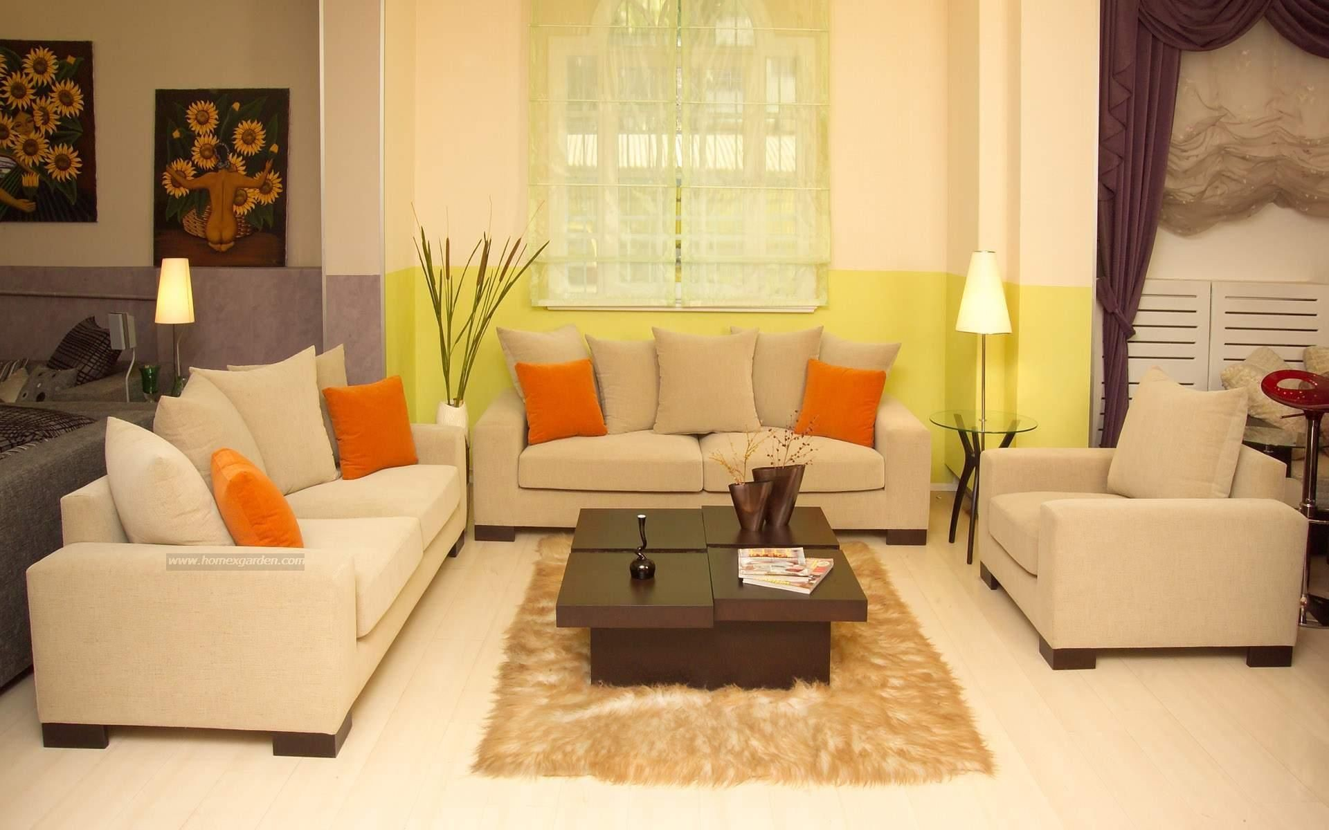Serene Living Room Decorated with Cream Wall Paint Color and Single Cream Leather Sofa Chair also Two Cream Leather Sofas In Living Room Idea and Black