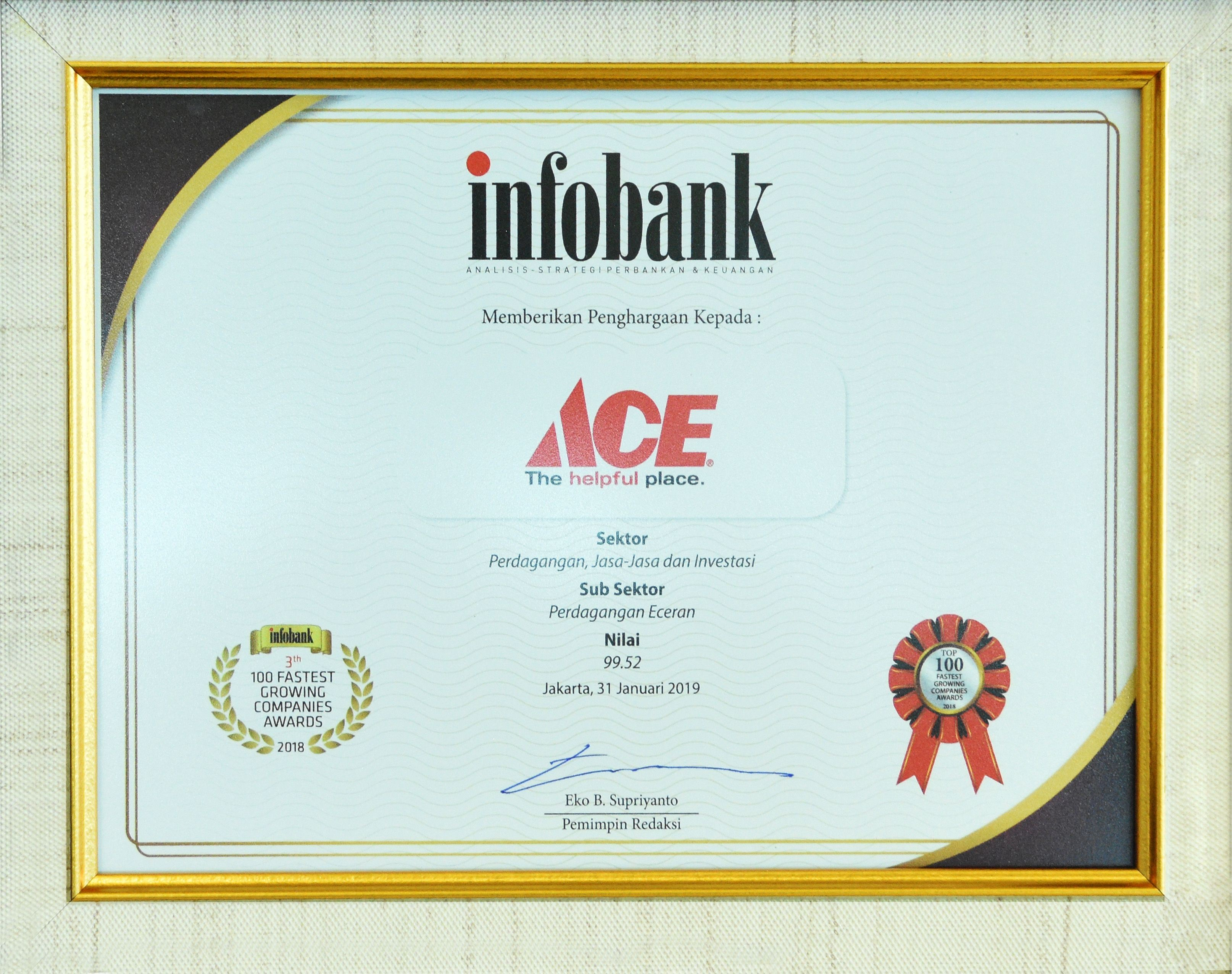 ACE begin 2019 by receiving another prestigious award from Infobank For the third times in a row since 2017 ACE were awarded the 100 Fastest Growing