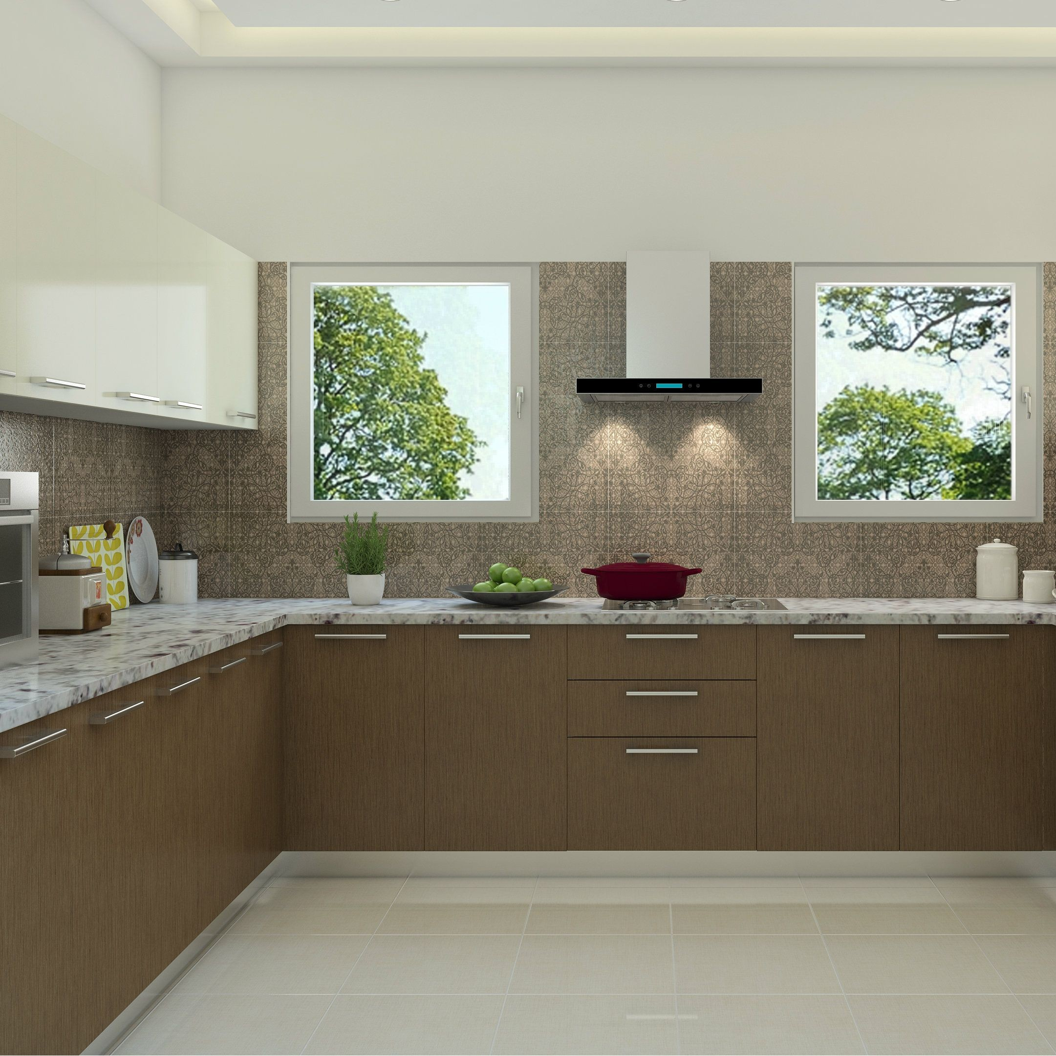 Beautiful brown shades in a wood finished modular kitchen Kitchen Design Open Open Kitchen