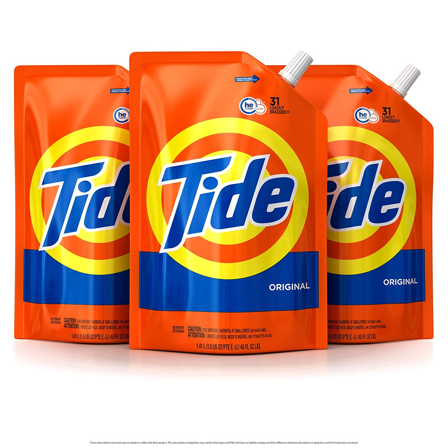 Amazon Tide Liquid Laundry Detergent Smart Pouch Original Scent HE Turbo Clean Pack of three 48 oz pouches 93 loads Pack of 3 Health & Personal