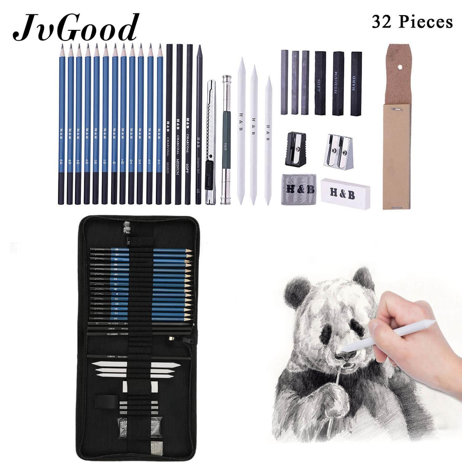 JvGood Professional Art Kit Art Supplies Drawing and Sketch Kit with Pencils Erasers Kit Bag Sketching