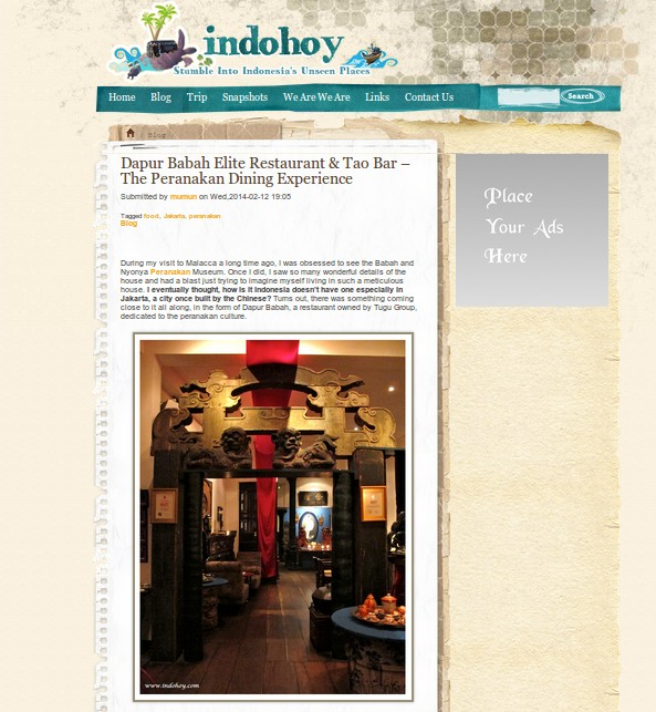 dapur babah elite restaurant tao bar the peranakan dining experience review by indohoy
