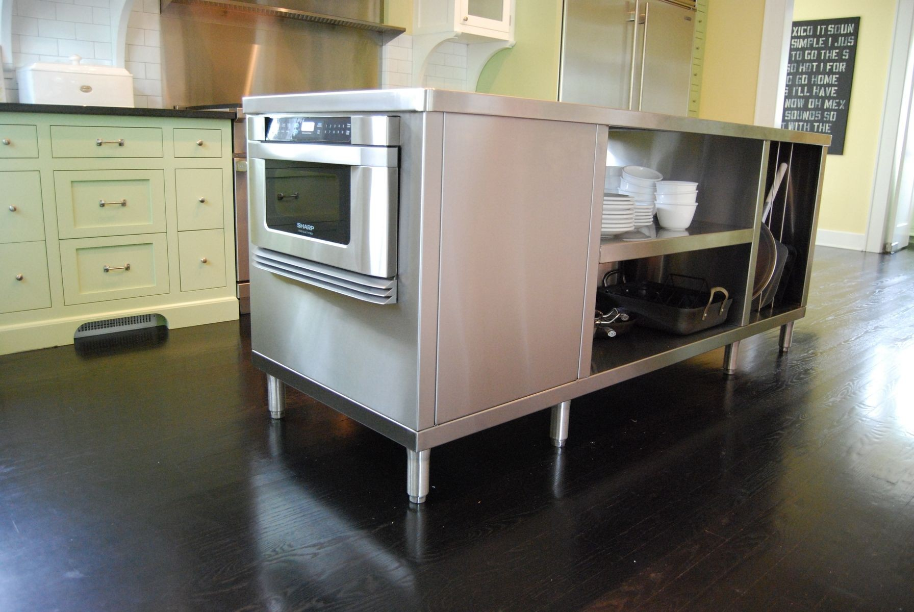 Image of Victorian Stainless Steel Kitchen Island