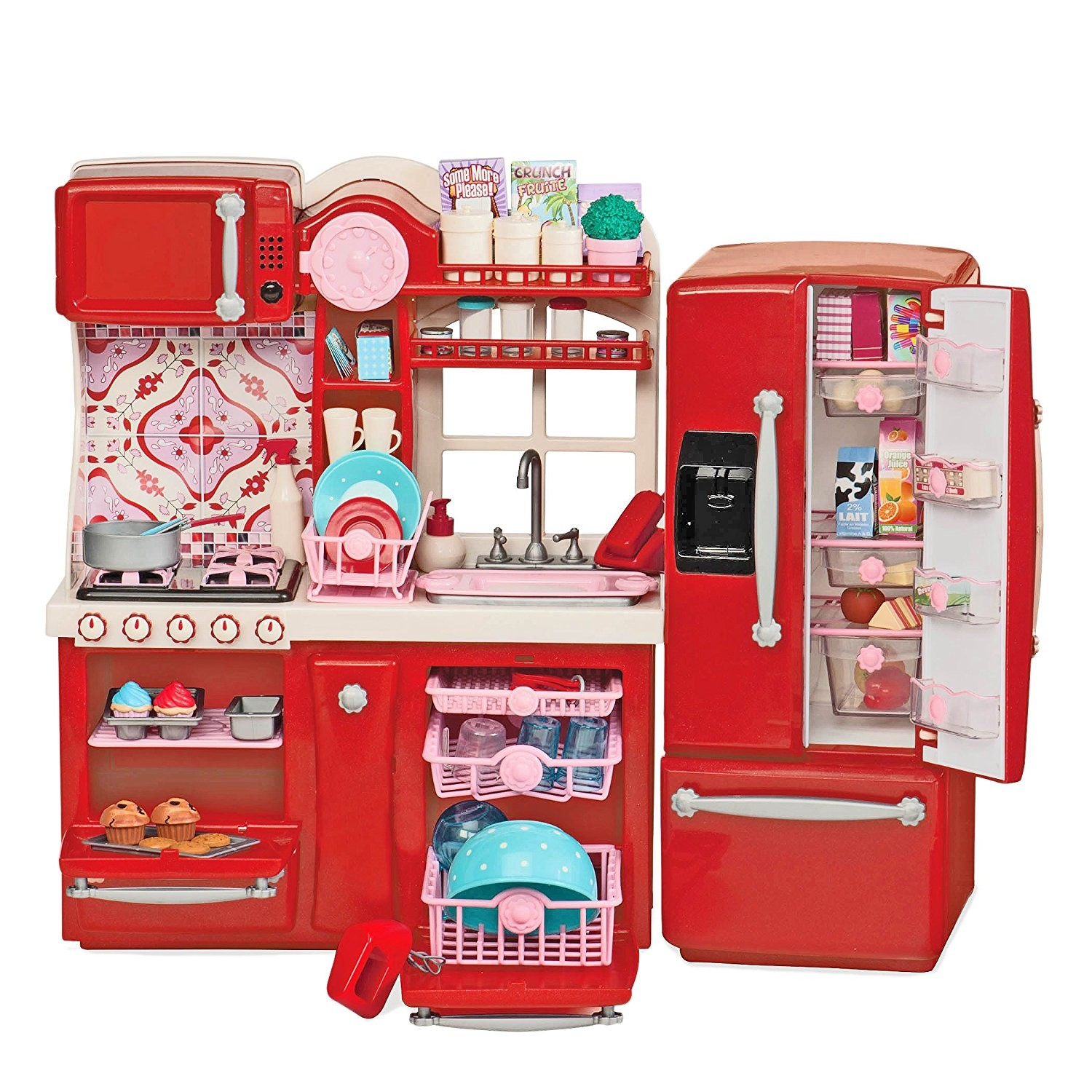 Our Generation Gourmet Kitchen Set Red Play e