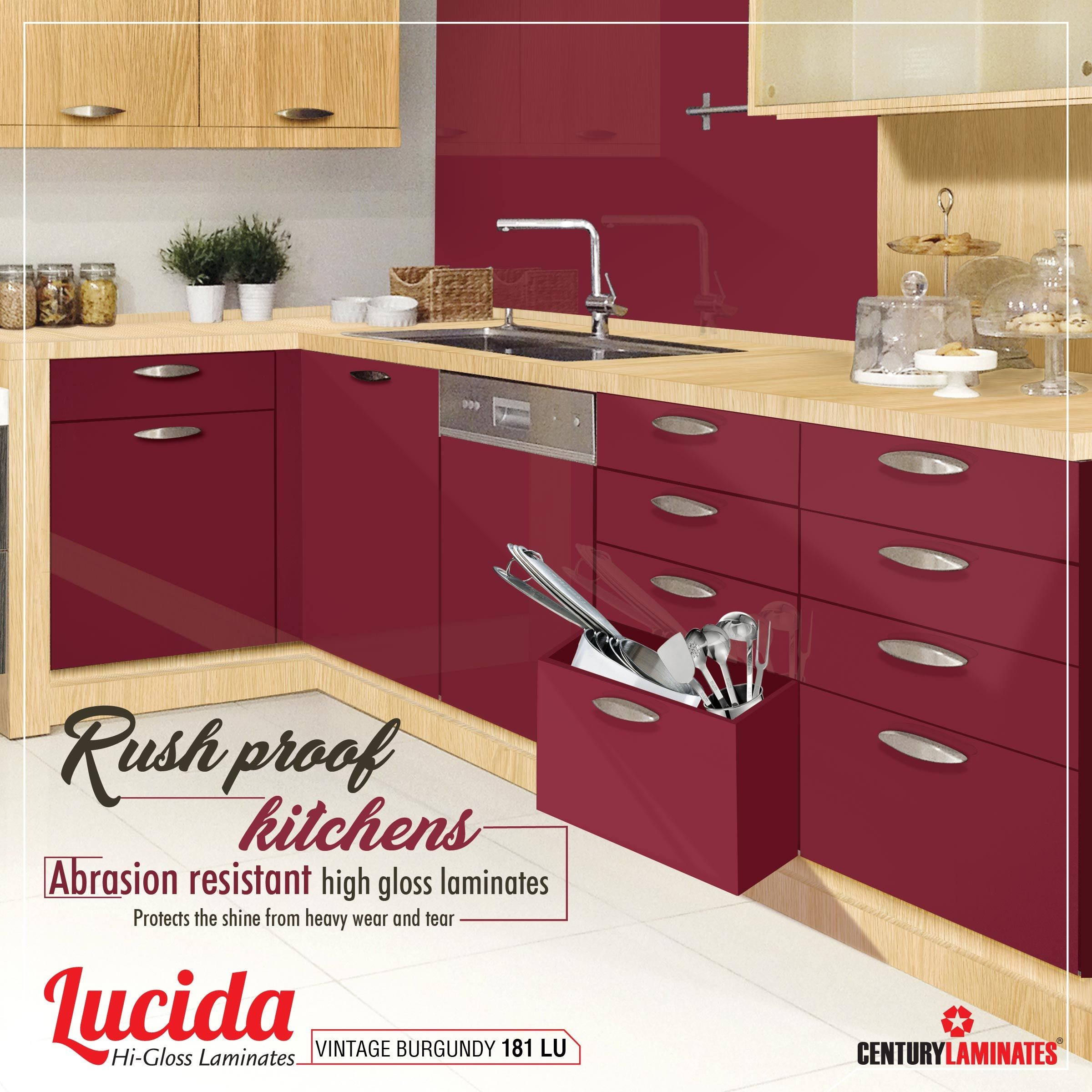 Lucida High gloss laminates is Abrasion resistant & best choice for your kitchens