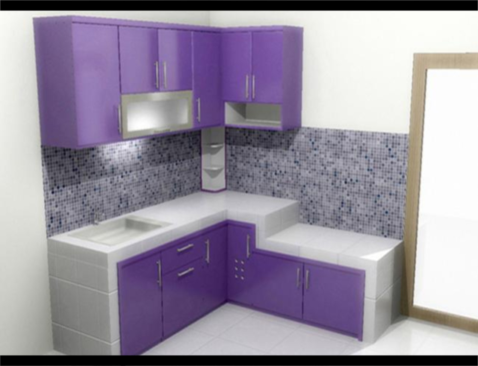 Interior dapur Minimalis Cat Warna Ungu 2