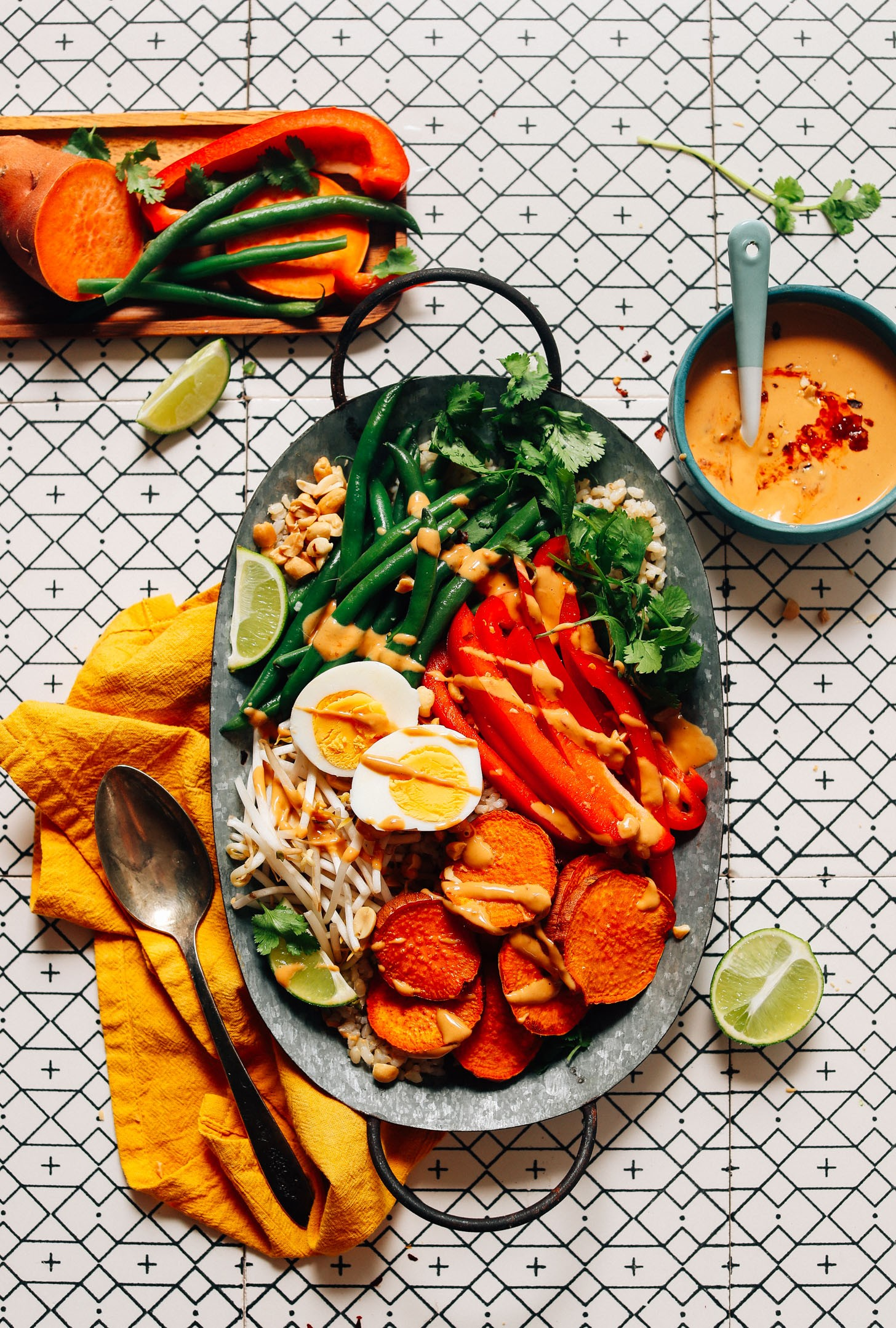 FRESH and Delicious Gado Gado with Roasted and Fresh Veggies and Spicy Peanut Sauce Simple ingre nts ready in 30 minutes dairyfree dinner lunch gadogado glutenfree minimalistbaker recipe 7